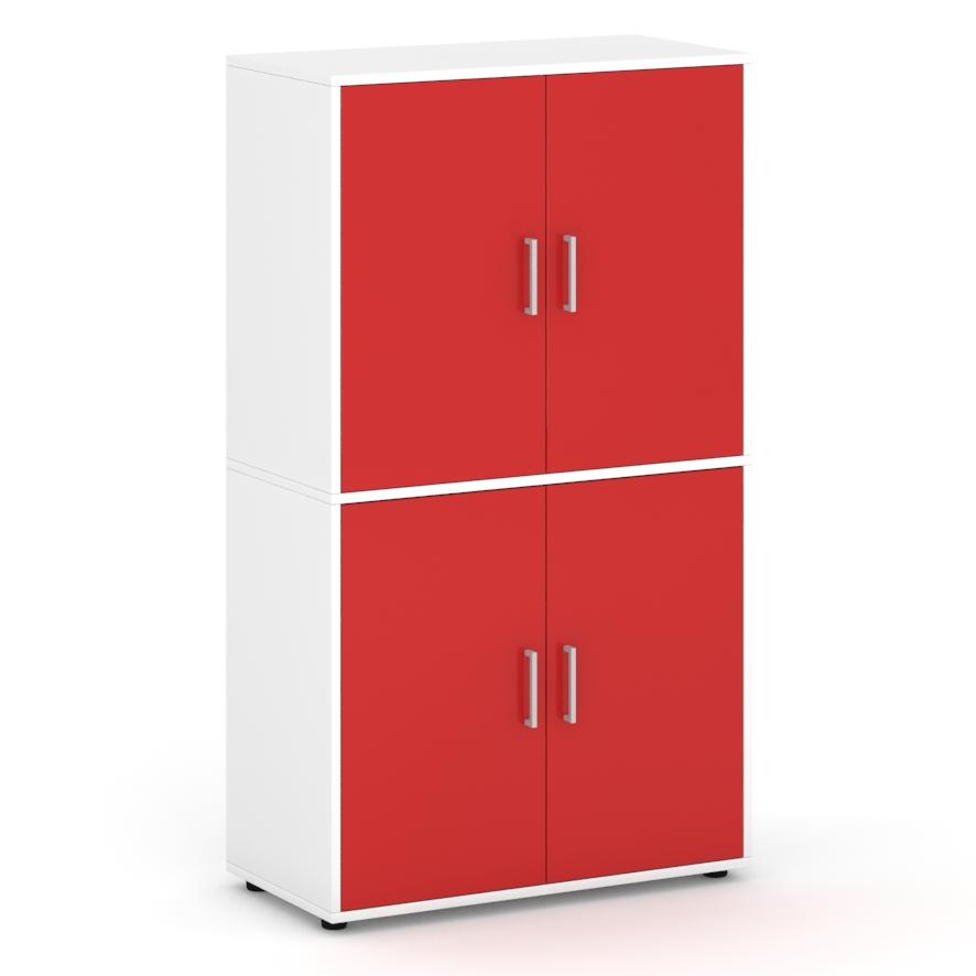 Armario-de-160-cm-de-altura-con-4-puertas-con-espacios-interiores-rojo