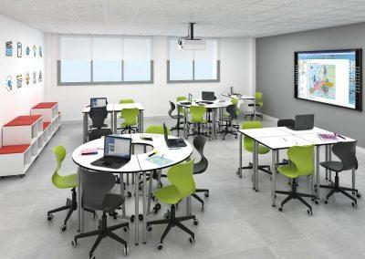 Mesa escolar plegable con ruedas - HEXA