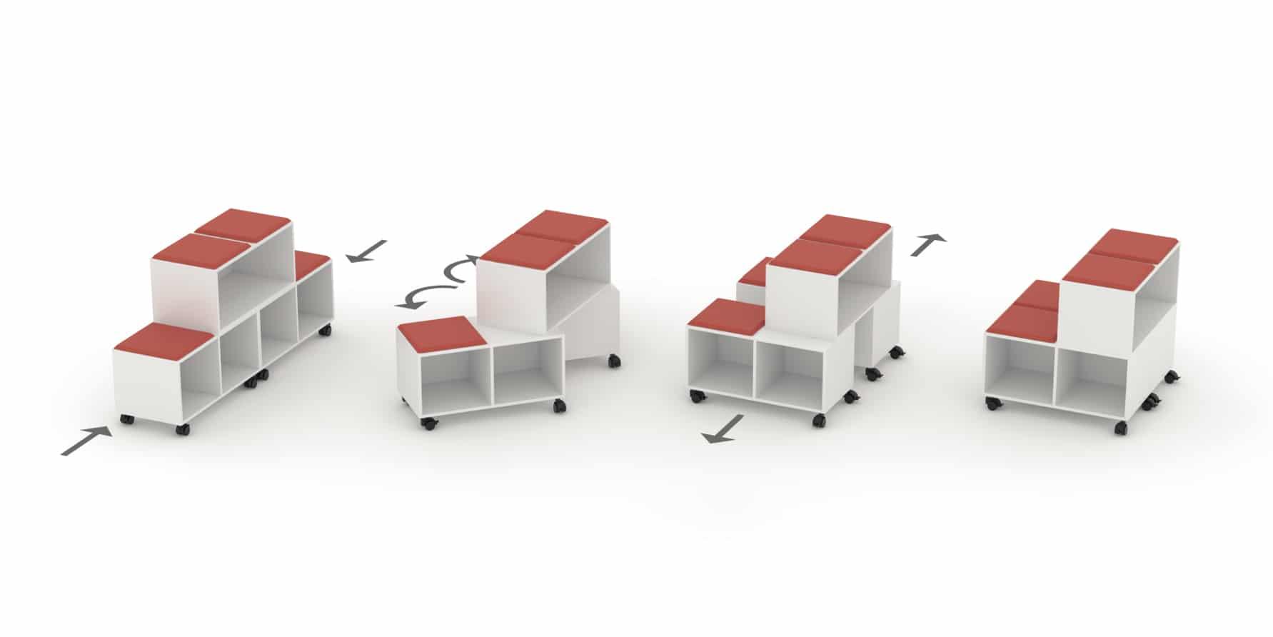 Grada modular, móvil y transformable en estantería