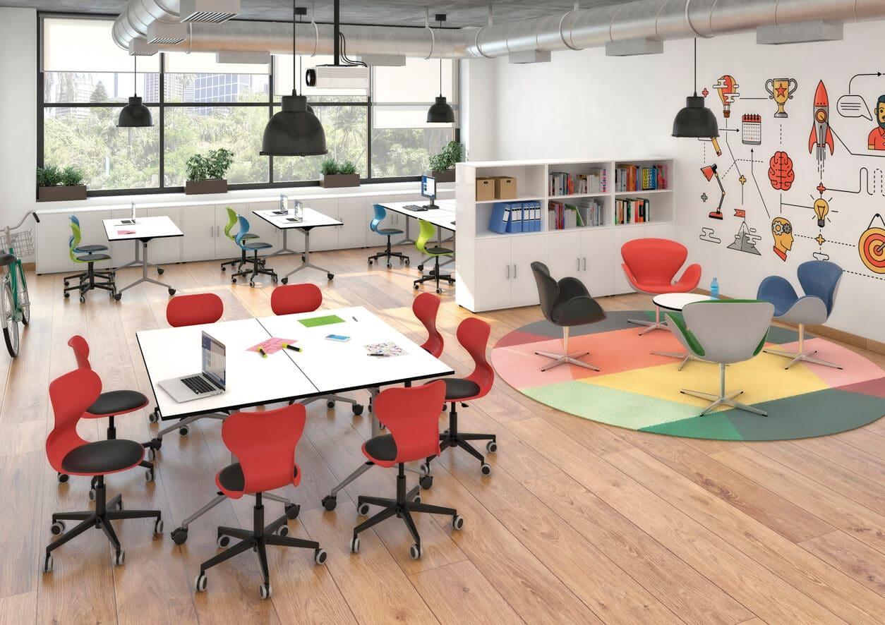 Aula con mesas plegables escolares Minifloop
