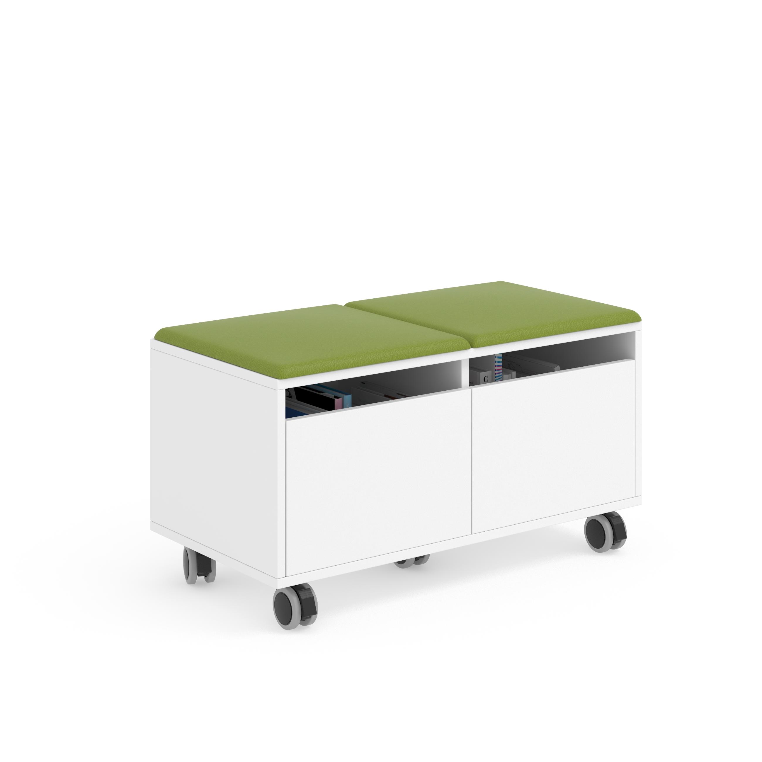 Grada modular con ruedas y estantería
